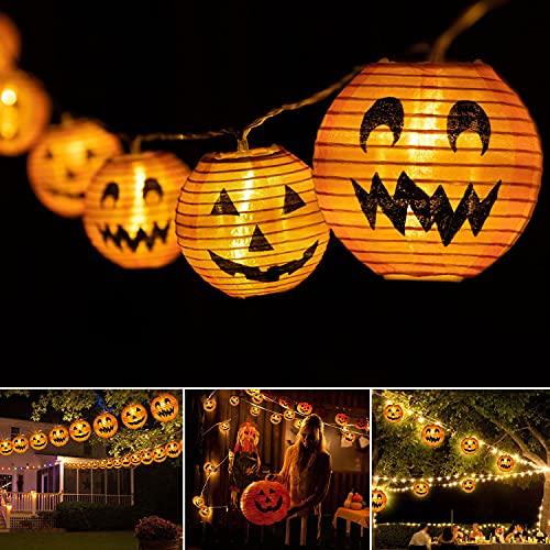 CRRMW 15 linternas Calabaza Halloween LED, Halloween Decoracion Exterior, Luces Halloween, Luces LED navideñas con Pilas, Luces de Calabaza Naranja para Decoración de/Halloween/Exterior/Interior ✅