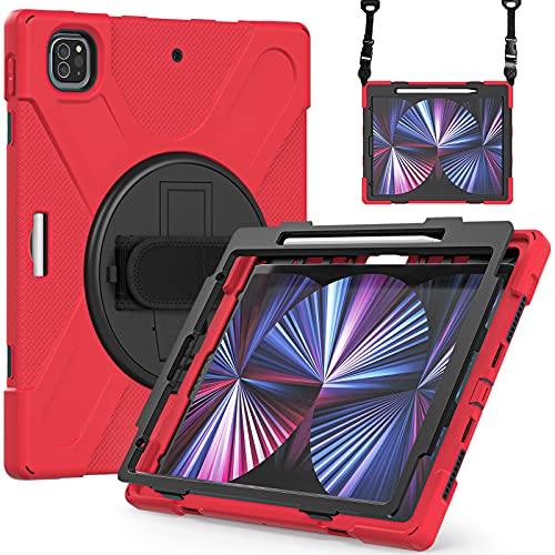 Fonrest Funda Pata de Cabra para iPad Pro 12.9'' 2021 con Soporte para Lápices, Antichoque Carcasas Híbrida con Agarre Giratorio de 360°, Correa para el Hombro (A2378/A2379/A2461/A2462) (Rojo)