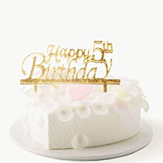 Happy 5th Birthday Cake Topper, 5th Birthday Cake Topper, Baby's 5th Birthday Party Decorations-Gold