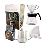 Kit Café Completo Hario V60 HR-VCSD-02B-EX 700ml Chaleira Pressca INOX 500ml Café Gourmet 250g e Filtro Hario 02 40 Uni
