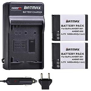 Batmax 2Pcs AHDBT-001 AHDBT-002 Battery + Wall Charger Plug with Car Charged for GoPro HD HERO2,GoPro Original HD Hero