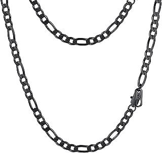 Collar para Hombre Cadena Fígaro 8 Longitud Opcional, Plata de Ley/Acero Inoxidable Dorado/Negro/Plateado, Ancho 2.9mm/5mm/4mm/6mm/9mm/13mm Opcional con Caja de Regalo