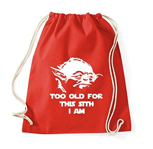 TRVPPY Too Old For This Sith Sac de gym en coton - Rouge - Taille Unique