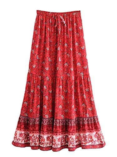 Milumia Women's Boho Vintage Floral Print Tie Waist A Line Maxi Skirts Red Medium