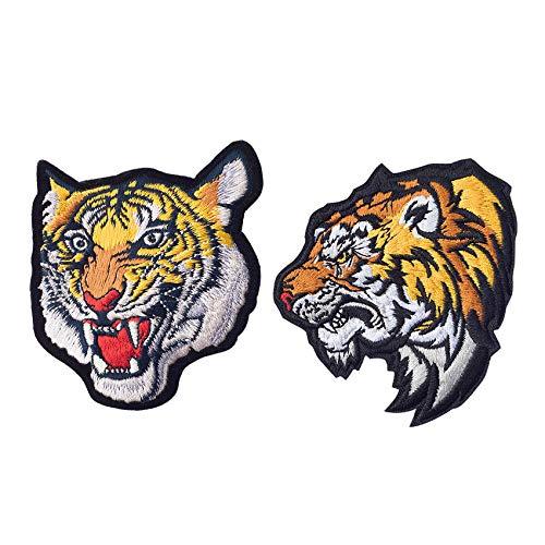 SuperiorParts Patches zum Aufbügeln Tiger 2 Stück Buegelbilder Bestickte Patches Sticker Gestickte Aufnäher Applikation für DIY Kleidung Jeans T-Shirt Jacken Rucksäcke (Kombination Tiger)
