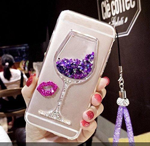 Artfeel Briller Liquide Sables Mouvants Coque pour Samsung Galaxy Note 9, 3D Brillant Strass Scintillant Étoiles Verre de Vin Étui,Mince Cristal Souple Silicone Housse avec Dragonne-Violet