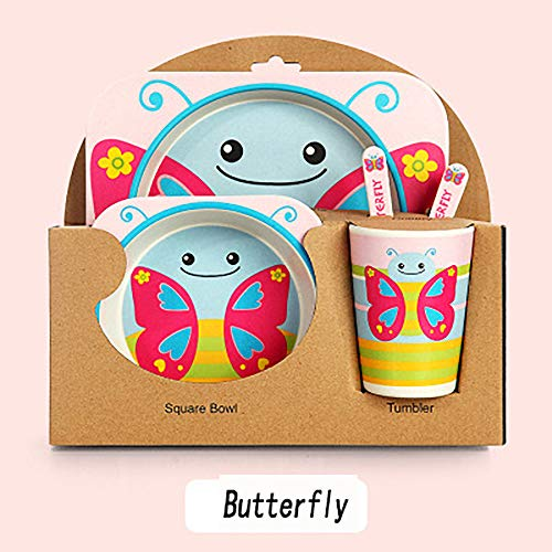 W KING Kleinkind-Teller und Schüsseln, Bambusfaser-Baby-Besteck Set Kinderbesteck-Set 5er, Assured Mutter Kinder zu verwenden zulassen,Butterfly