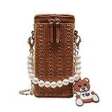 WDM - Bolsa de playa de paja trenzada, se vende por 1 unidad, color: marrón, material: paja trenzada + algodón poliéster, tamaño: 9 x 19 x 9 cm