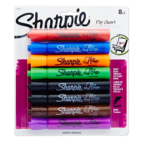 Sharpie 22480PP Flip Chart Markers, Bullet Tip, Assorted Colors, 1 Pack