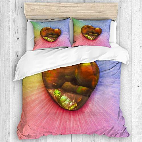 HARXISE Ropa de Cama - Funda nórdica,Ágata de Fuego del Arco Iris, Microfibra de Invierno, de Tres Piezas, con 2 Fundas de almohada140 x 200cm