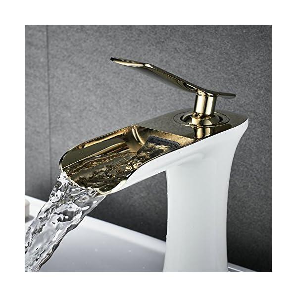 Cascada Grifo Lavabo Grifo Baño del Fregadero Mezclador Monomando, Oro y Blanco