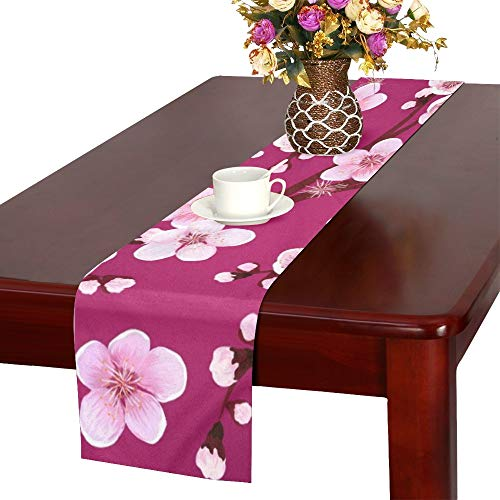 JINCAII Apricot Flower Sakura Japan Kirsche Tischläufer, Küche Esstisch Läufer 16 X 72 Zoll für Dinnerpartys, Veranstaltungen, Dekor