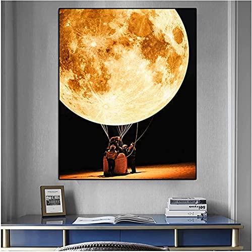 XMYC Pop artMoon Pittura Stampe Paesaggio Poster Immagini da Parete Decorazione Soggiorno pittura40x60cm Senza Cornice