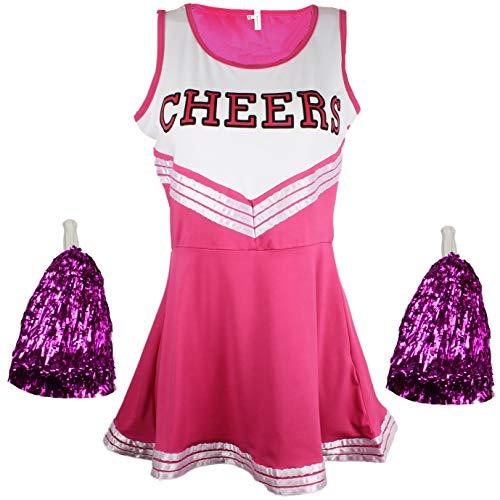 Disfraz de animadora, disfraz de High School Musical, con pompones, Women's, color rosa, tamaño Large