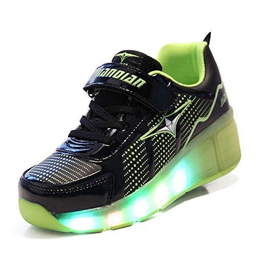 Rollschuhe für Mädchen Jungen Kinder LED Blink Skate Sneaker Schuhe mit Rädern,C,40EU