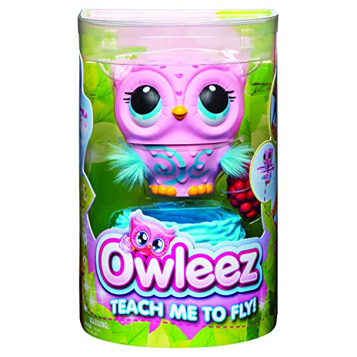 Owleez 6053359 - fliegende interaktive Spielzeug - Babyeule mit Leuchteffekten und Sound, pink