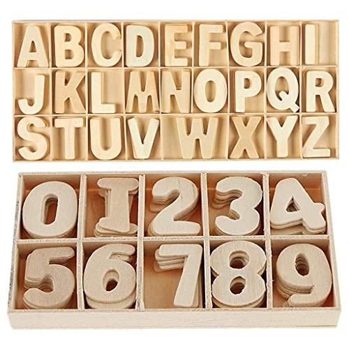 Holz Buchstaben Und -nummern - Klein Holzbuchstaben Und -nummern Mit Aufbewahrungstablett - Holzbuchstaben, Bastelbuchstaben, Glatte Natur Holznummern, Hochzeitsdekoration, Kinder Lernspielzeug