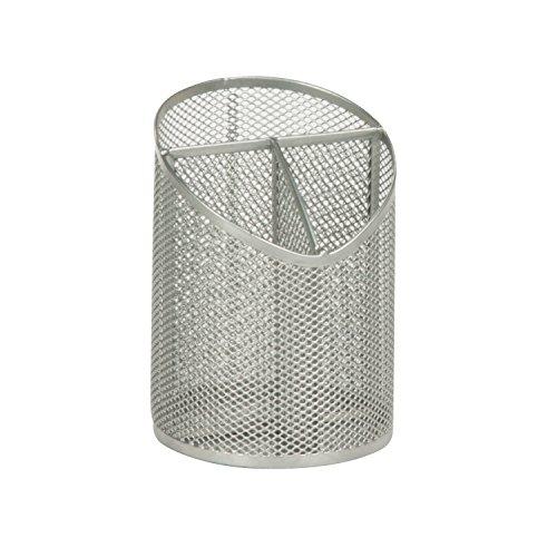 Honey-Can-Do OFC-03302 Mesh Angled Pen/Pencil Cup Organizer, 4.3 x 4.3 x 5.9, Silver