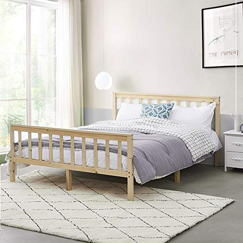 Wooden Bed Frame, Pure Solid Pine Bed Base Slatted Bed Bedroom Furniture For Adults, Kids Teenagers (Wood, 4FT6)