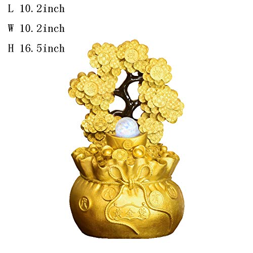 Statues Tabletop Fountain,Tabletop Decorative Cash Cow Water Fountain Wind Turbine Decoration Indoor Water Decoration and Fortune Home Jewelry Business Gifts Creative Jewelry-A 16.5inch