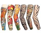 Autek 6 Stück Tattoo Tattoowiert Ärmel Arm Sleeve Strümpfe Tattooärmel Colletion Set J