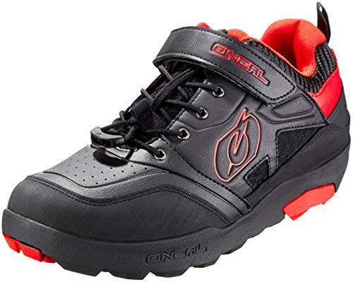 O'NEAL | Fahrrad-Schuh | Mountainbike MTB DH FR Downhill Freeride | Hoher Grip, Schnellschnürsystem für perfekte Passform, Mesh-Belüftung | Traverse Flat Shoe | Erwachsene | Schwarz Rot | Größe 45