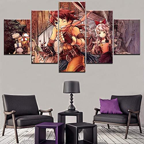 WUXI Cuadro sobre Lienzo Cuadro en Lienzo Pintura para Sala de Estar Imagen Arte de la Pared Marco 5 Panel Juego Final Fantasy Tactics Anime Poster Arte Moderno Impresiones en Lienzo