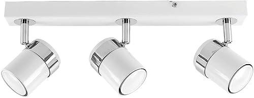 MiniSun - Moderna Lámpara de Techo - Regleta de 3 Focos Ajustables – Color Blanco