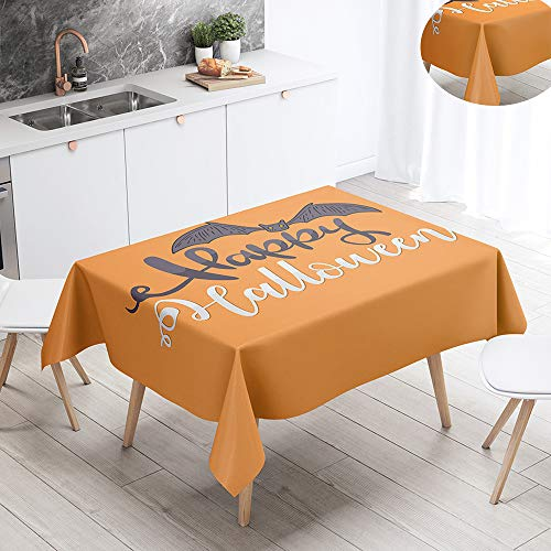 Fansu Halloween Waterproof Table Cloths, Rectangle Washable Tablecloth Stain-Resistant 3D Print Oil-Proof Outdoor Table Cover for Casual Kitchen Party Garden Dinning (140x140cm,Bat)