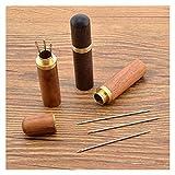 GJHL Aguja de la máquina de Coser 12pcs 36mm 38mm 42mm Agujas de Rosca Propia + THIMB Hotel House Herramientas Mano COSTANDO Agujas para Durable (Color : Wood Box)