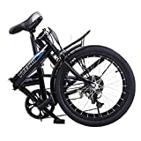 20in Folding Bikes for Adults 7 Speed City Folding Compact Bike Bicycle Urban Commuter【Shipping from USA】 (Black)