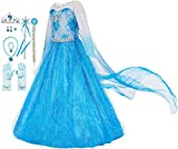 FUNNA Costume for Girls Princess Dress Up Costume Cosplay Fancy Party, Blue, with Accessories, 5
