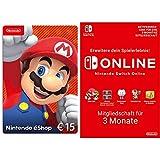 Nintendo eShop Card   15 EUR Guthaben (Download Code) + Online Mitgliedschaft - 3 Monate (Download Code)