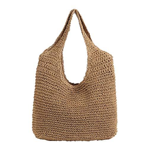 KESYOO Bolso de Hombro Tote de Playa de Verano para Mujeres Niñas Bolso de Mano Grande para Mujer Bolsa de Hombro Multifuncional para Mujer - Caqui
