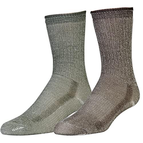 Merino Wool Hiking Socks, 2-Pack Olive/Chestnut L