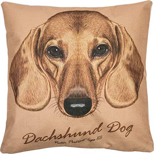 Puccybell Kussensloop met dierenmotief digitale print hond, Teckel hond voor kussens 45 x 45 cm KB001 (teckel)