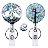【2021 Upgraded】2 Pack Heavy Duty Metal Badge Holder Reel, WoEluone Retractable Badge Holder with Belt Clip Key Ring for ID Cards Keys, 24.8 Inch Steel Wire Cord,Tree of Life