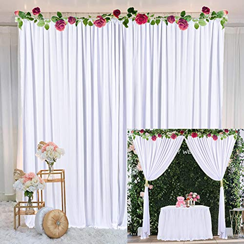 White Backdrop Curtain for Parties Weddings Baby Shower Birthday Photography Bridal Shower Drape Photoshoot Backdrop Curtains with Tiebacks 5ft x 10ft,2 Panels