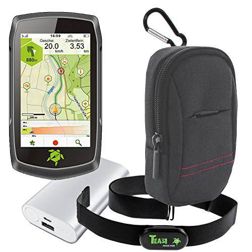 TEASI ONE4 - Fahrrad- & Wandernavigation + Fahrradhalter Lenkerbefestigung + USB Netzteil + Schutzfolie + optionales Zubehör (Teasi one4, Herzfrequenz-Sensor+Tasche+Powerbank)