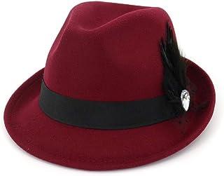6a48656a4e154 SANOMY Unisex Vintage Fedora Hat Wide Brim Church Dress Hats Elegant Felt  Cap Classic Trilby Cap