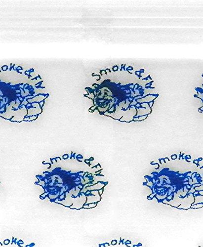 Original Mini Ziplock Reclosable Plastic Bags, Smoke & Fly (1510, 100 Bags)