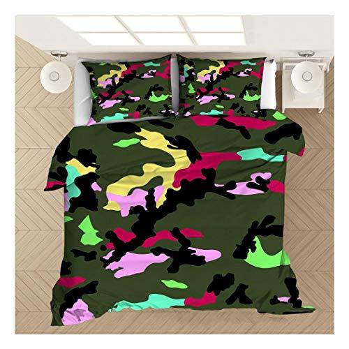 HANHJ 3D Bed Duvet Quilt Cover Bedding Set Army Camouflage Design Kids Boys Girls Bedroom Duvet Cover Bedding Double Hypoallergenic Bedding Set with 2 Pillow Cases,B-180x210cm
