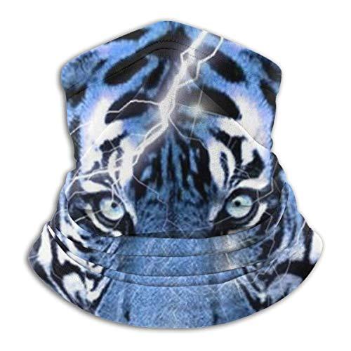 Hdaw Tiger Face Lightning Moon Unisex Microfibra cuello calentador Headwear bufanda bandana pasamontañas