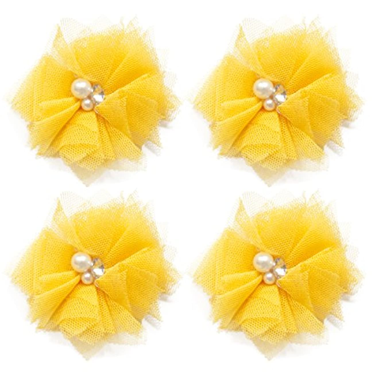 Maya Road TK3273 Tulle Mini Blooms - Sunny Yellow for Paper Crafts and Scrapbooking