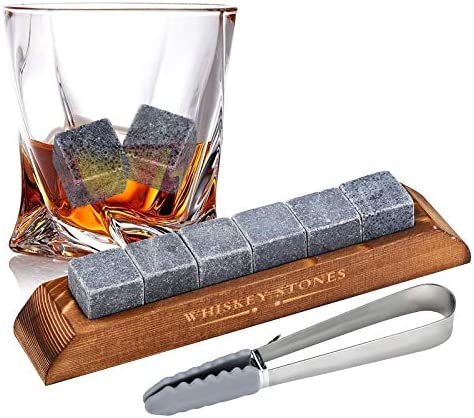 Whiskey Stones Gift Set Gifts for Men Dad Ice Cubes Reusable 6 Marble Whiskey Rocks Chilling product image