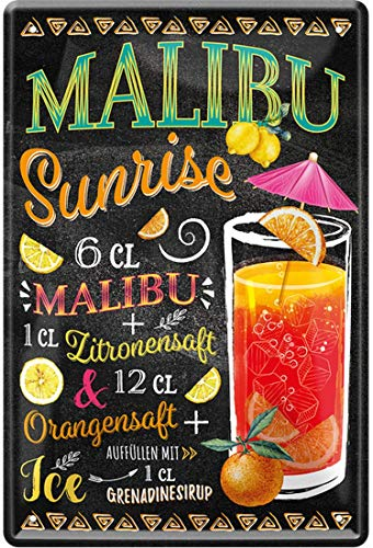Malibu Sunrise Cocktail Rezept Zitronensaft Orangensaft Grenadine Sirup Ice 20 x 30 cm Bar Party Keller Deko Blechschild 1438