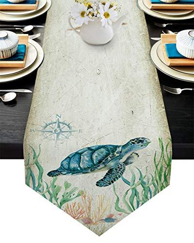 Camino de mesa con diseño de animales marinos, tortuga de mar, brújula de coral sobre fondo vintage, mantel de 33 x 177 cm