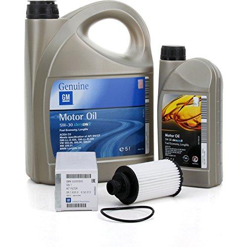 Filter-Kit + Motoröl von GM General Motors, Opel-Motoröl 5W-30,6l (Opel Insignia, Zafira Tourer, Cascada) für 2.0CDTI-Motoren ab dem Baujahr 2014