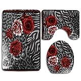 Alfombra de baño África flores de seda de la bufanda de belleza abstracta Animales Otoño alfombra vieja en colores pastel de la vendimia del estampado de flores alfombra de baño Mat Conjunto de 3 piez