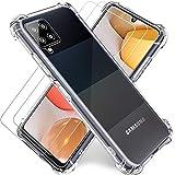 """Funda Transparente para Samsung A42 5G,Cristal Templado y Protector de Pantalla Samsung Galaxy A42 5G (2Pack) con Carcasa Protectora,Silicona TPU Airbag Anti-Choque Ultra-Delgado Case Caso,6.6"""",Claro"""